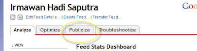 Klik menu tab publicize seperti tampak pada gambar