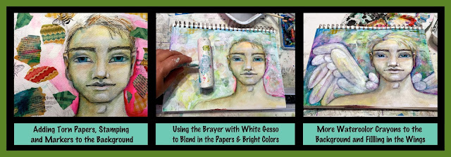 How to Create a Mixed Media Background for a Male Angel Art Journal Page