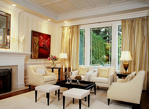 A pale gold room gets a small jolt of color from the painting   very pretty  room. Designer spotlight  Sarah Richardson   Enchanted BlogEnchanted Blog