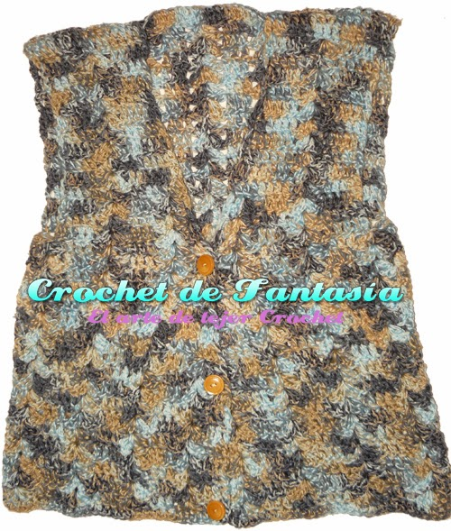 Crochet, ganchillo, tejido, lana matizada, dama, chaleco
