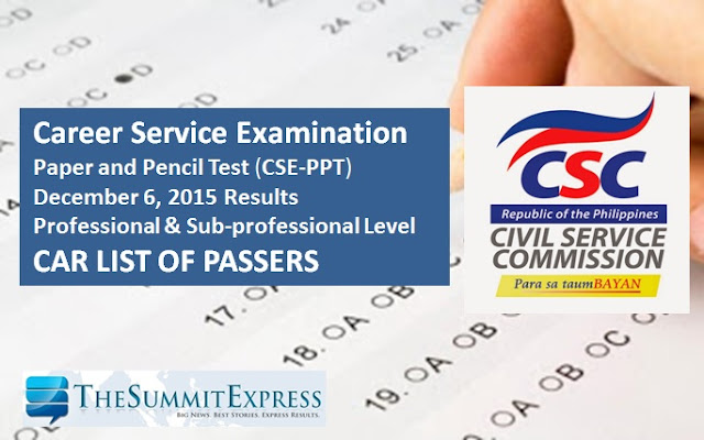 December 2015 Civil service exam results (CSE-PPT)