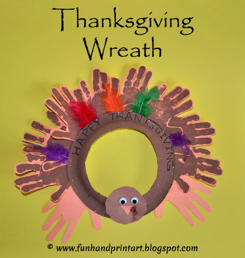 Handprint Turkey Wreath - Kids Thanksgiving Craft #HandprintHolidays