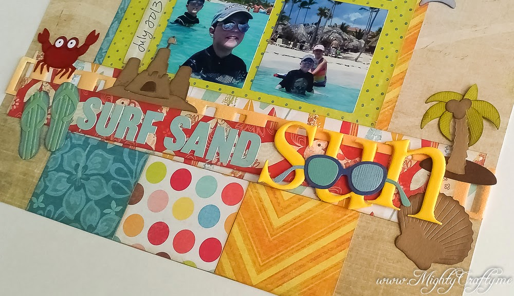 Surf Sand Sun layout for Sketch N Scrap Challenge #63 -- www.MightyCrafty.me
