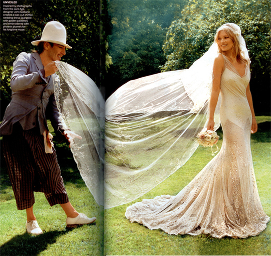 Kate moss wedding photos mario testino for John galliano wedding dress