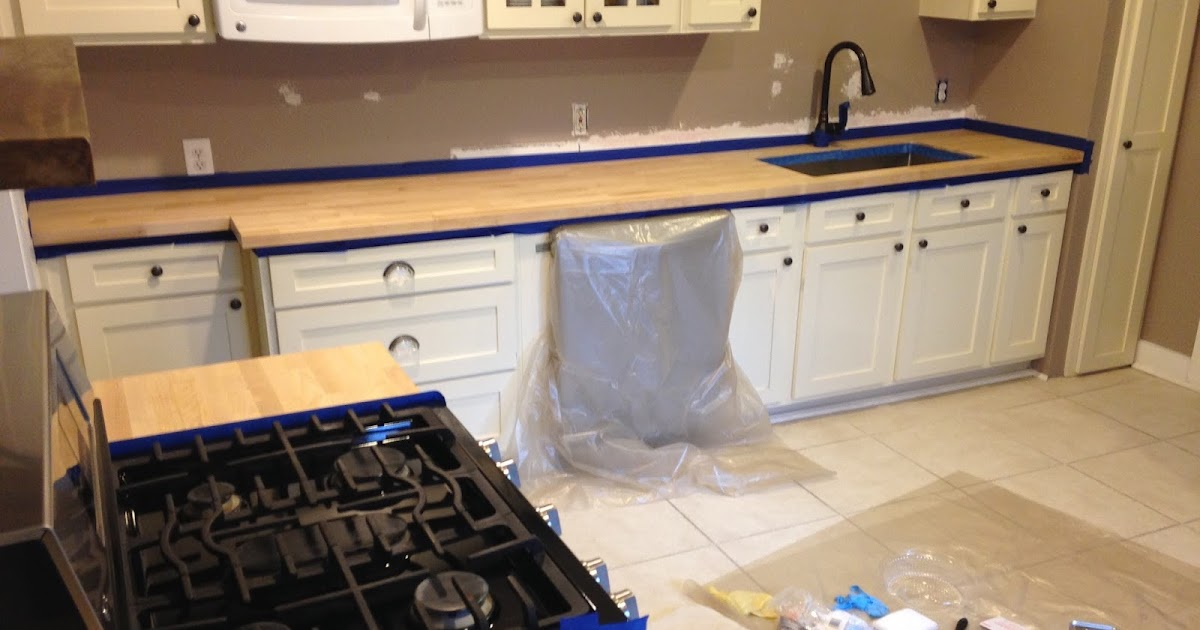 use your words little girl bungalow kitchen reno staining and sealing the butcher block. Black Bedroom Furniture Sets. Home Design Ideas