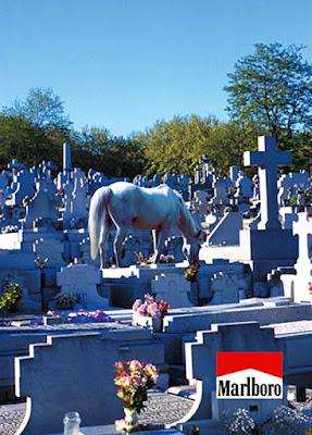 Imagen de contrapublicidad que muestra al caballo de Marlboro buscando a su dueño en el cementerio
