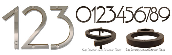 Mid-century modern house numbers and letters