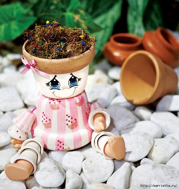 artesanato para enfeitar jardins:DIY Clay Flower Pot People