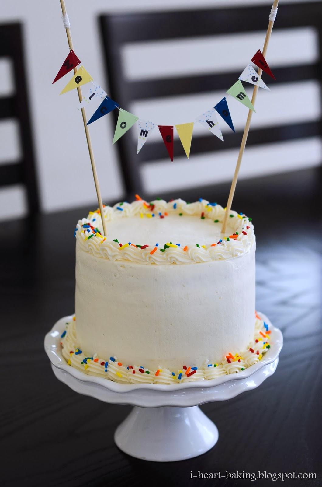 i heart baking!: funfetti welcome home cake with handmade ...