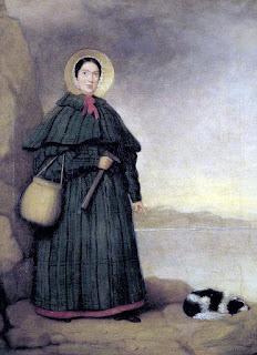 Retrato de Mary Anning, paleontóloga inglesa, con su perro Try y el afloramiento Golden Cap al fondo. Museo de Historia Natural de Londres, Reino Unido. La obra era propiedad de su hermano Joseph y fue cedida al museo en 1935 por Annette Anning.