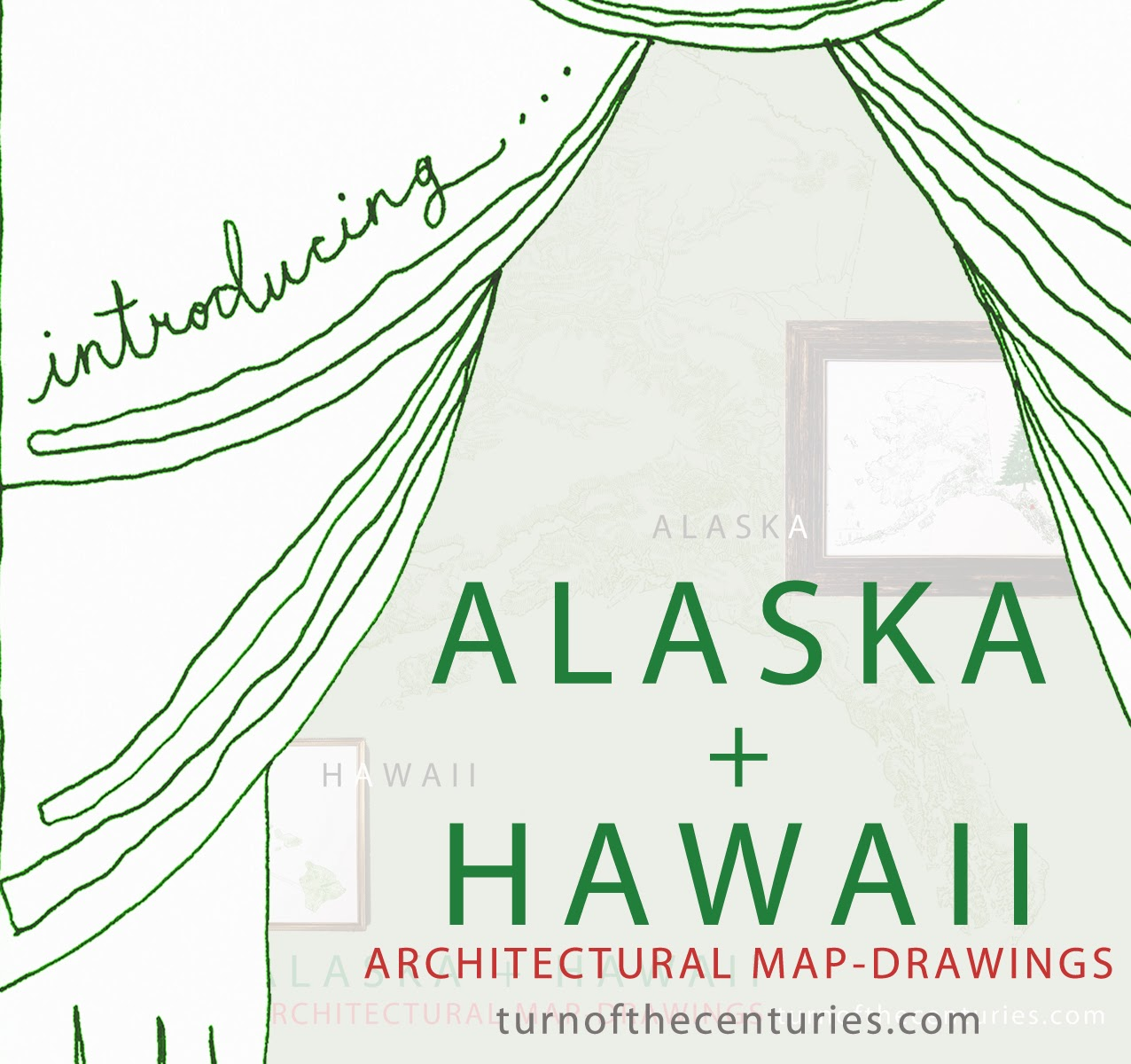 TurnoftheCenturies ALASKA HAWAII USA MapDrawings - Hawaii map usa states