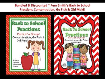Fraction Back to School Discounted Bundle Concentration, Go Fish & Old Maid CCSS