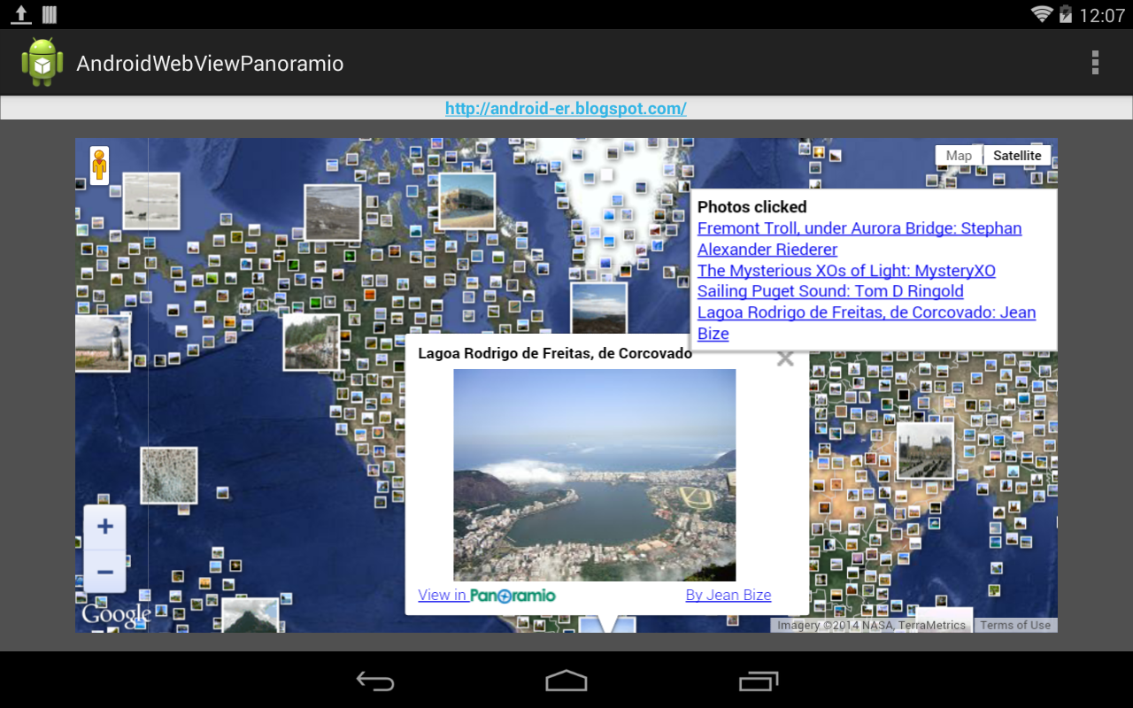 WebView to load Google Maps JavaScript API v3 with Panoramio Layer