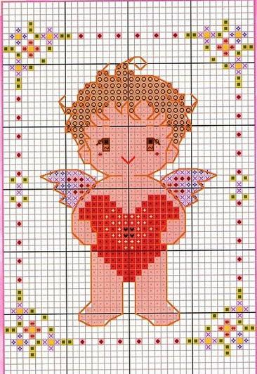 Schemi punto croce angioletti da ricamare a punto croce for Angioletti punto croce per bambini