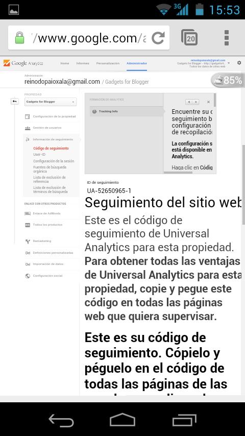 tutoriales blogger. conseguir id analytic