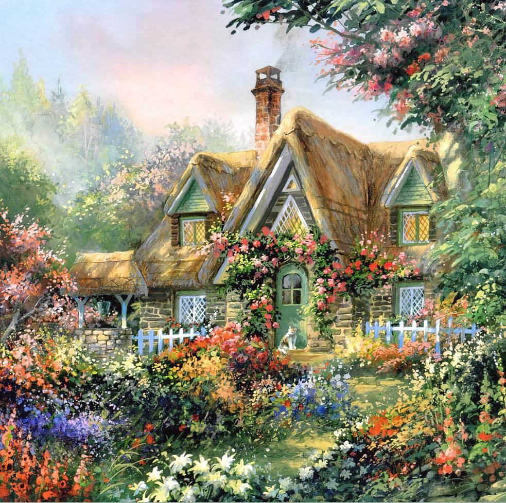 схема вышивки английский домик