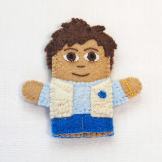 Diego felt finger puppet from a Dora the Explorer project for a friend, handmade by Joanne Rich.