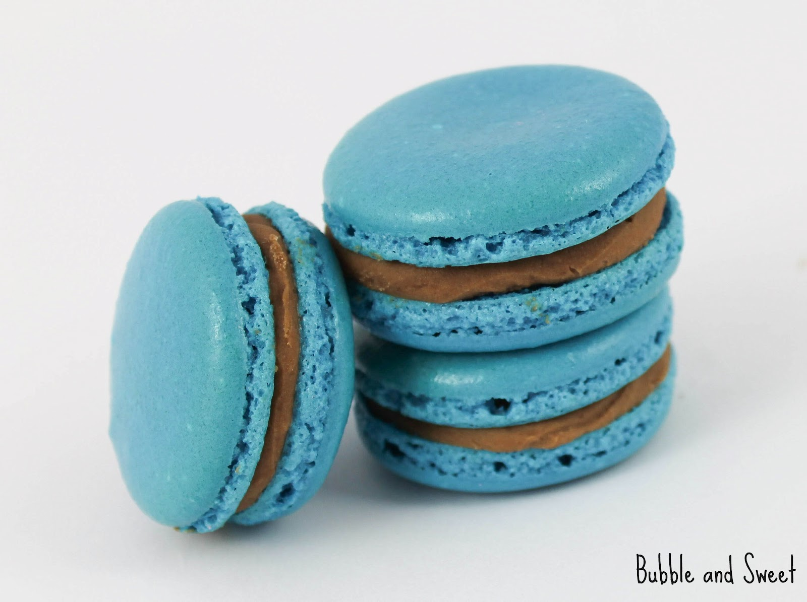 Bubble and Sweet: Peanut Butter Chocolate Ganache Blue French Macarons