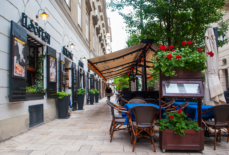 Cafe street decorations in budapest hungary