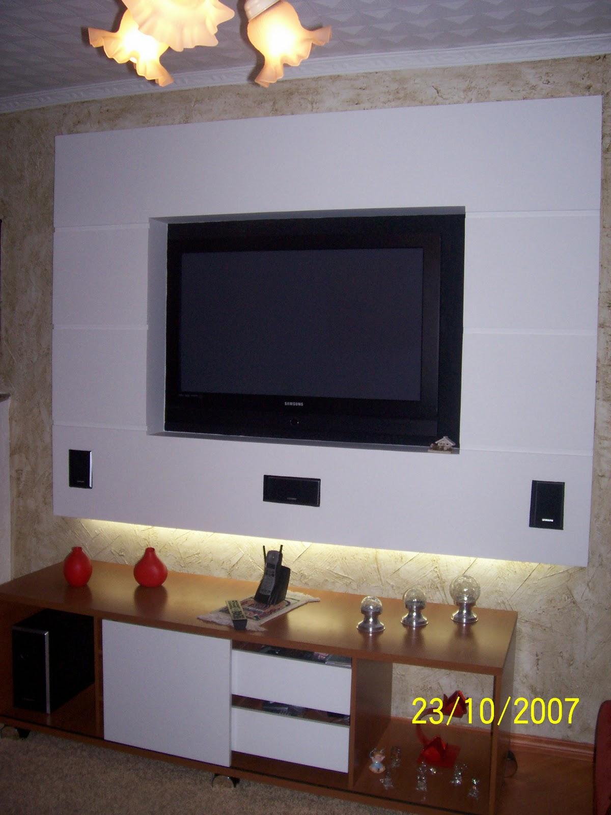 Pruzak Com Painel De Tv Para Sala Em Gesso Id Ias Interessantes  -> Estante Gesso Sala Tv