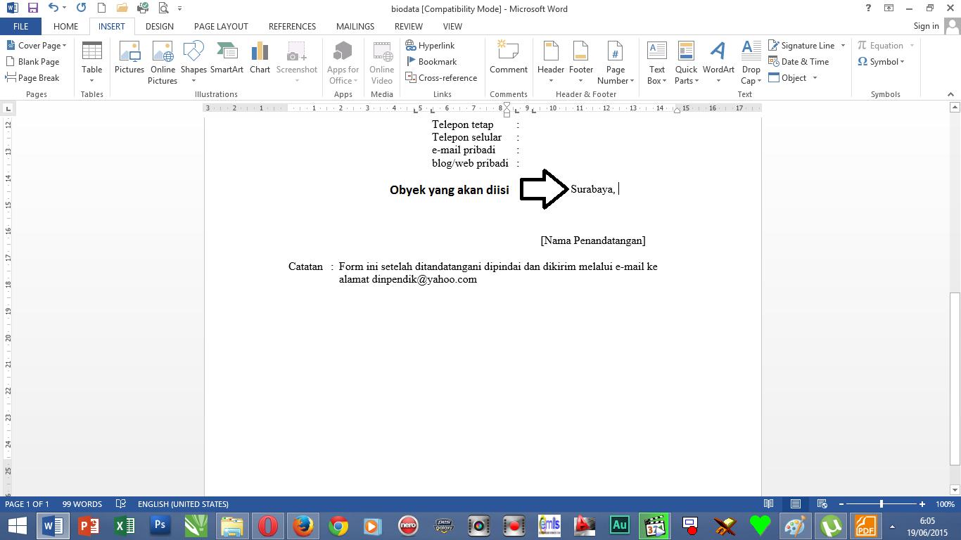 Setting Waktu dan Tanggal Otomatis Diperbarui Word 2013