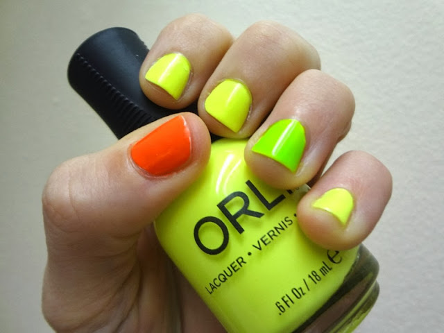 Neon nails, multi-colored, Orly Glowstick