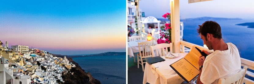 restaurants fira santorini photo