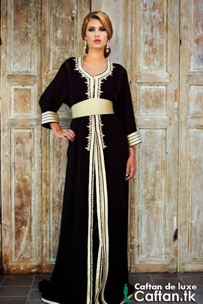 Caftan marocain noir de prestige 2014