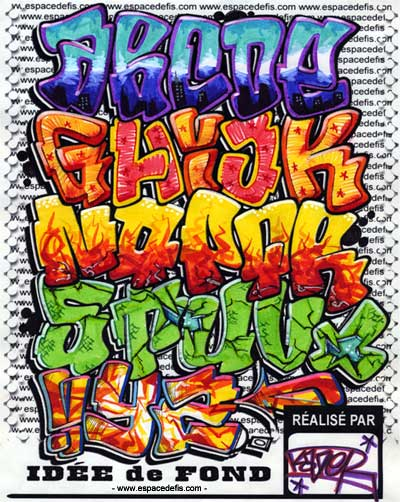 Graffiti alphabet colorful eccentric