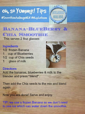 cool moms cool tips #smoothiechallengemln banana blueberry smoothie recipe