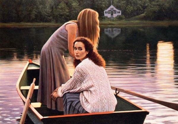 females with boat painting