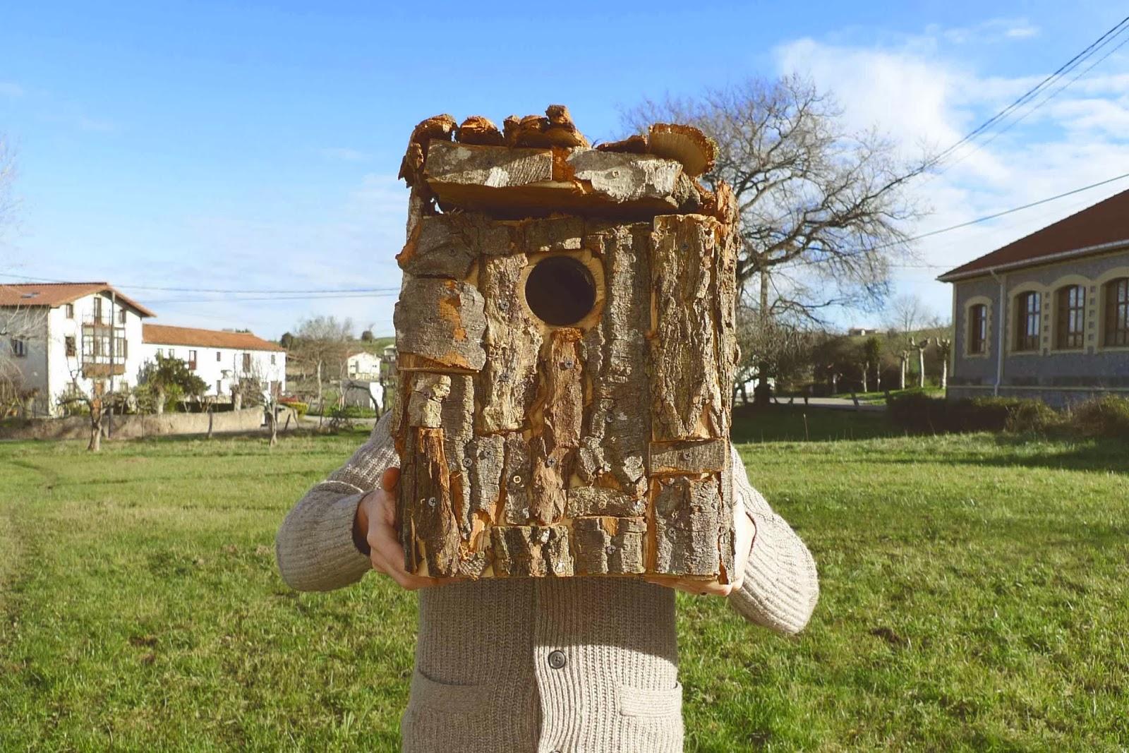 Caja nido para familia de mochuelos