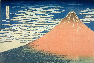 "alt=""Japanska träsnitt, Hokusai - Röda Fuji, 1828-1832""  © Copyright 1998"