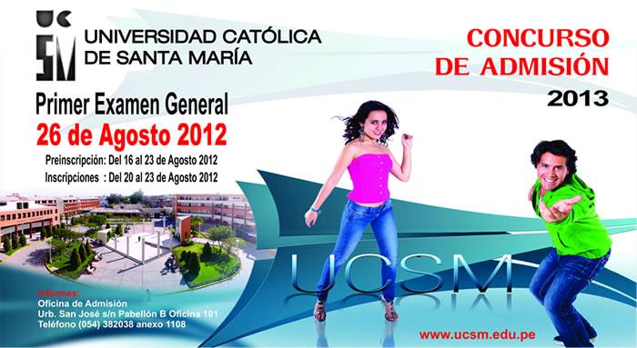 UCSM 2013 (26 Agosto) Resultados Admisión Universidad Católica de