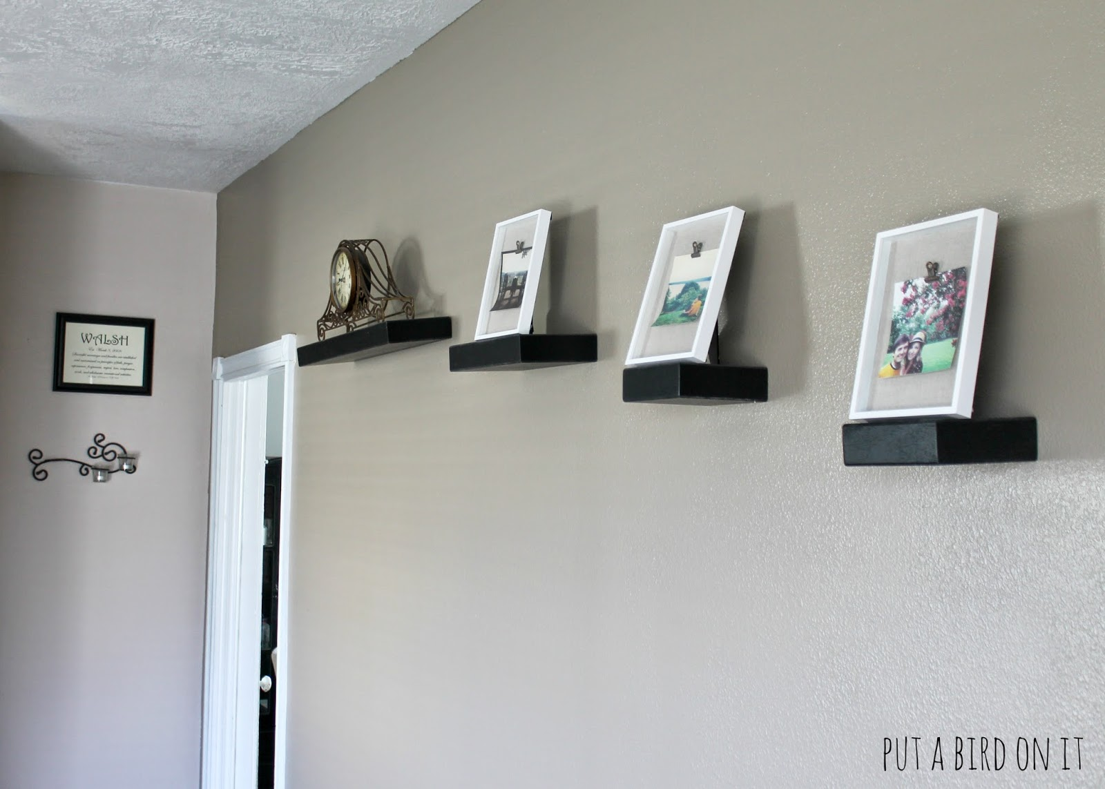 Diy shadow box frame makeover guest post from daniela put a frames since it was that easy they all have a different photo from a recent family vacation i love them in my living room on our floating shelves jeuxipadfo Gallery