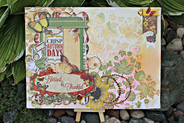 Blessed and Thankful Mixed Media Canvas featuring Enchanted Garden collection by BoBunny and Leaf Stickable Stencils designed by Rhonda Van Ginkel