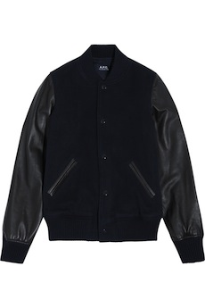 A.P.C. Teddy Rizzo II leather-paneled wool-blend bomber jacket