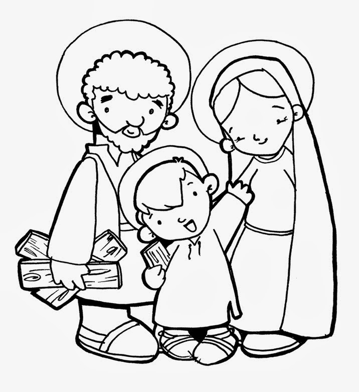 La sagrada familia para colorear gratis