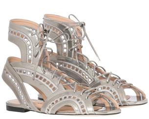Luiza Barcelos Inverno 2015 Coleção Singular sandália rasteira em specchio estilo gladiadora