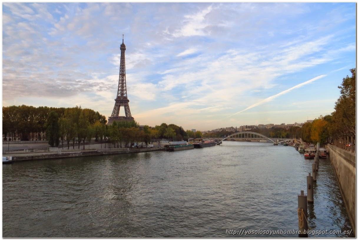 Vista del Sena con la Torre Eiffel al fondo