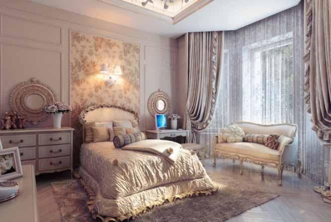 Kamar tidur Mewah yang indah Bergaya Klasik Tradisional Elegance