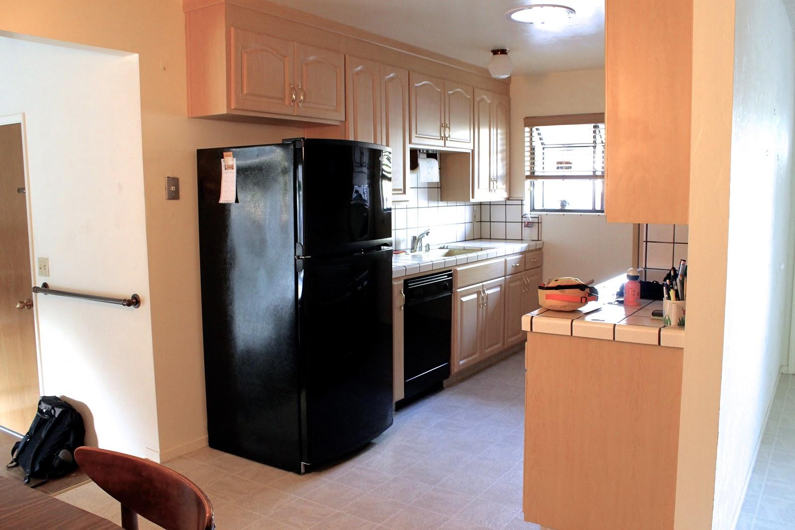 Black appliances in galley kitchen most in demand home design for Galley kitchen refrigerator