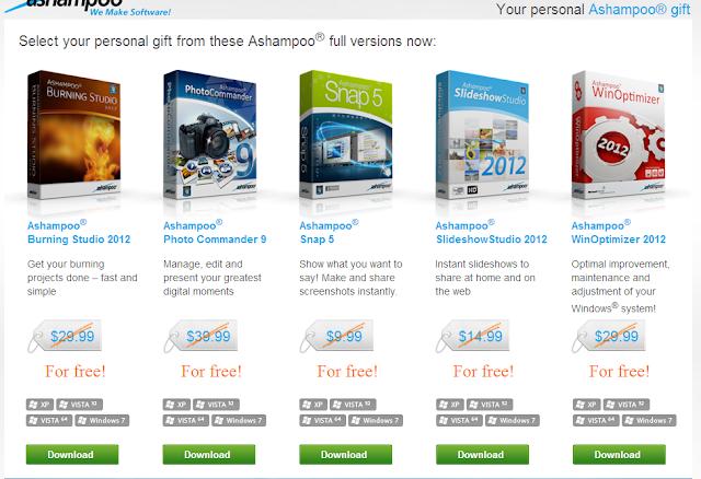 عرض لفترة محدودة من شركة أشامبو 5 برامج بقيمة 125 دولار للتحميل المجاني بدون أية قيود Ashampoo Gift