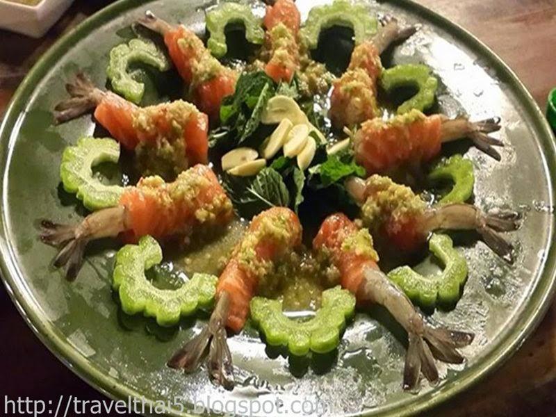 ณ. ชลนารา พล่าปลาแซลมอนพันกุ้งแช่น้ำปลา