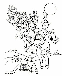 Line art drawing image of Santa coming over houses on his sleigh from the sky to the town with X mas gifts for kids