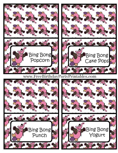 """Free Bing Bong  """"Inside Out""""  Birthday Party Printables- Food Cards Bing Bong Popcorn, Bing Bong Cake Pops, Bing Bong Punch, Bing Bong Yogurt"""