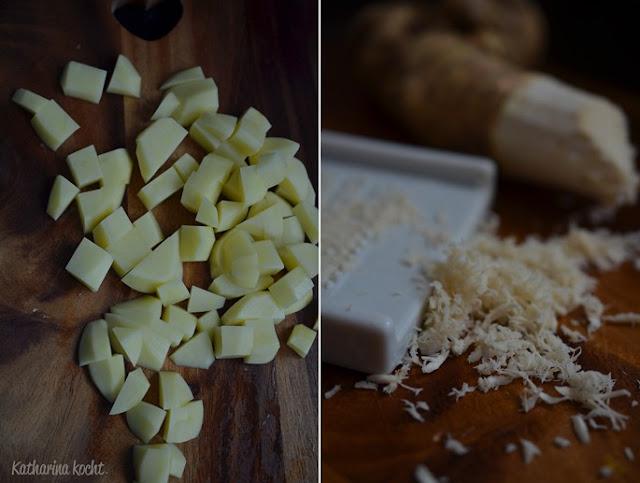 Kartoffeln Kartoffelsuppe Meerrettich geräucherte Forelle Räucherforelle Dill Zitrone