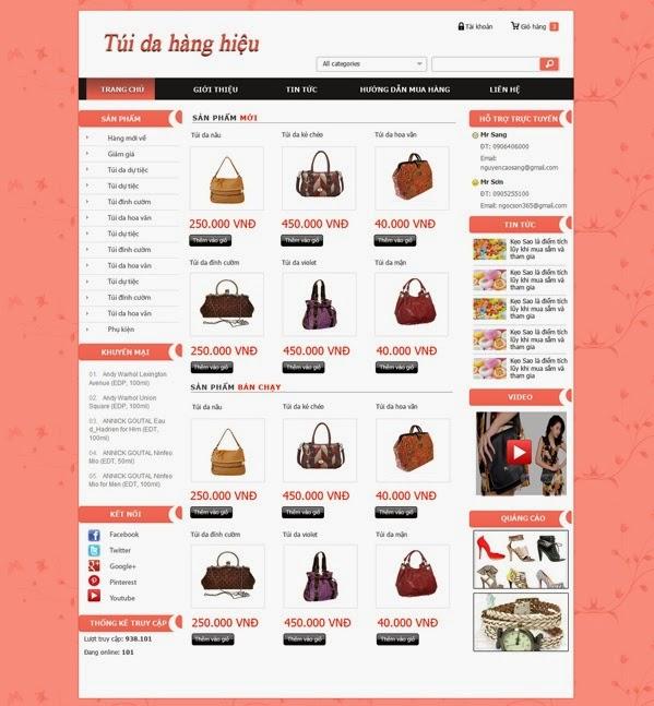 thiết kế website bán hàng quần áo đẹp
