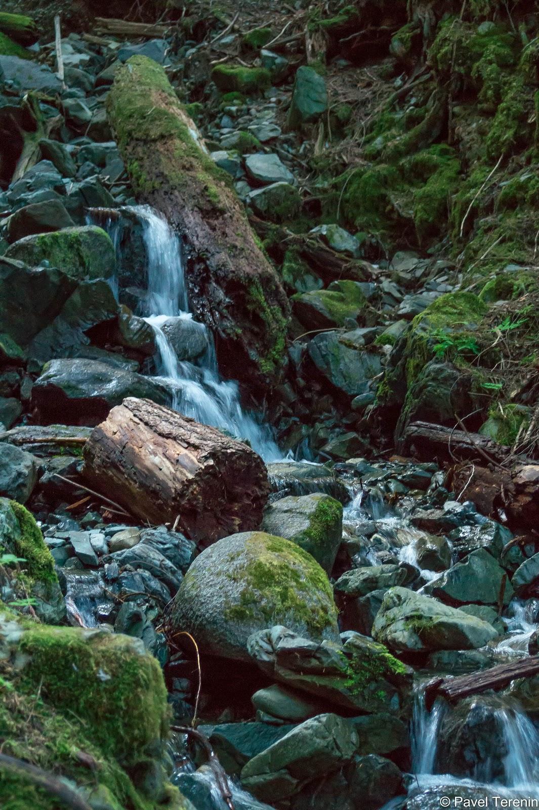 Только и оставалось, что любоваться на попадающиеся по пути водопадики.