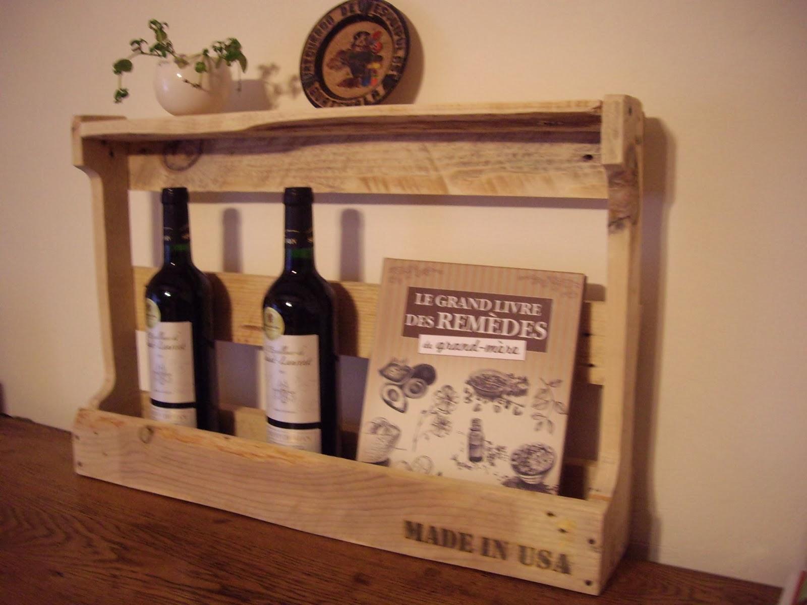 objets d co tutoriels et meubles en bois de palettes etag re porte bouteille livres etc. Black Bedroom Furniture Sets. Home Design Ideas